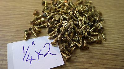 "bag of 50  1/4"" x 2 solid brass countersunk slotted head wood screws traditional"