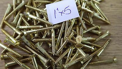 "bag of 50  1"" x 5 solid brass countersunk slotted head wood screws traditional"