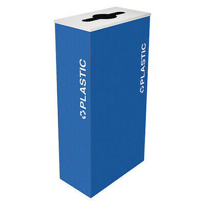 17 gal. Recycling Container Rectangular, Blue Steel TOUGH GUY 22N294