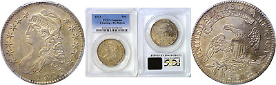 1813 50C Capped Bust Half Dollar PCGS Genuine Almost Uncirculate Details