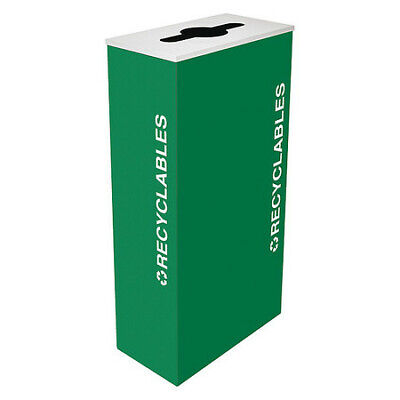 17 gal. Recycling Container Rectangular, Green Steel TOUGH GUY 22N296