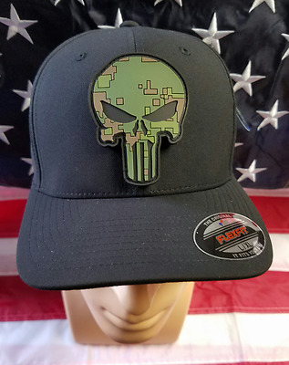 Punisher Skull L/XL FlexFit Hat/Cap Black w PVC Patch OD Green
