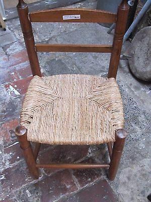 Childs Vintage Chair Oak & Rush Seat VGC pick up or your courier Home Child room