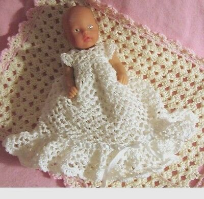 Crochet Pattern - Christening Outfit for 4.5 inch baby doll - Mini baby Born