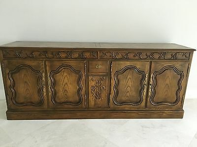 Baker Furniture French Provincial Oak Buffet w/Carved Frieze & Silver Drawer