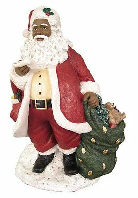 "SANTA WITH LIST African American Santa Claus Christmas Figurine, 10.5"" Tall"