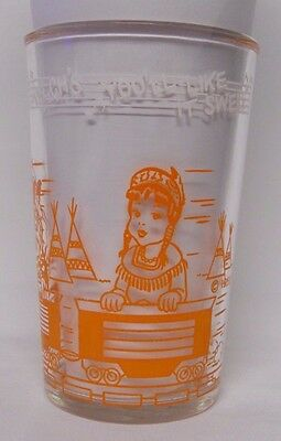 VINTAGE 1953 Welch's Howdy Doody Jelly Jar Glass-You'll Like it Swell-Orange