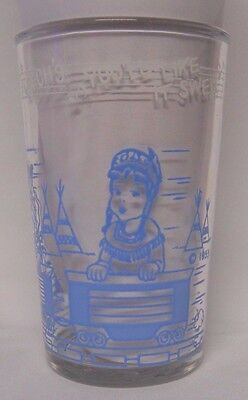 VINTAGE 1953 Welch's Howdy Doody Jelly Jar Glass-You'll Like it Swell-Blue