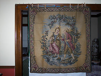 Colonial European Vintage Antique Tapestry wall hang 48x51,1920's and comp.plate