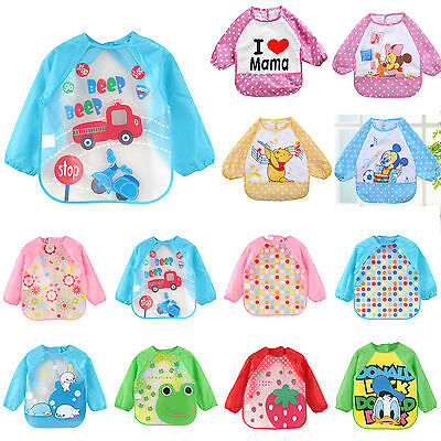 Cute Infant Baby Waterproof Long Sleeve Bibs Kids Cartoon Feeding Smock Apron