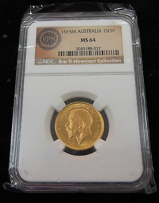 1915-M Gold Australia 1 Sovereign  NGC MS64 Eric P. Newman Collection.