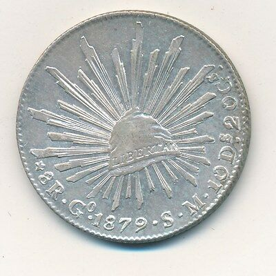1879 Mexico Silver 8 Reales-Guanajuato-Beautiful Mexican Coin-Ships Free!