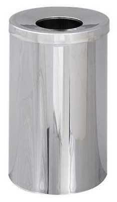 35 gal. Silver Steel Round Trash Can SAFCO 9695