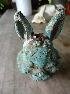 Vintage Industrial Lead or Iron Rabbit Head Mold