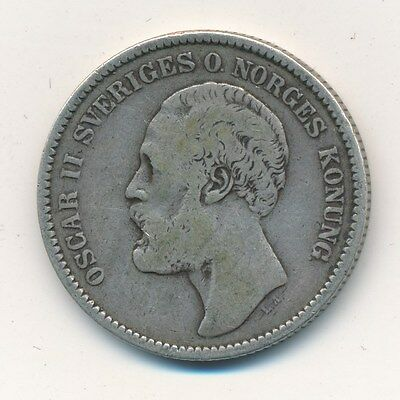1878 Sweden Silver 2 Kronor-Nice Circulated Swedish Coin-Ships Free!