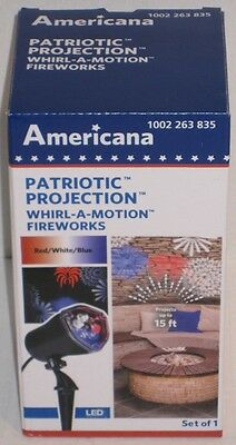 Americana Patriotic Projection Whirl-A-Motion Fireworks Red White and Blue NEW