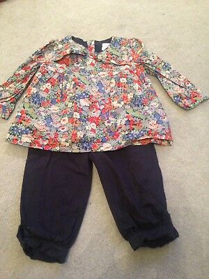 Mamas And Papas Liberty Outfit 12-18 Months Blue Girls