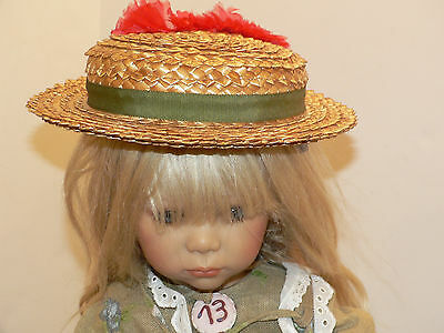 1940's 50's  Girl's or Doll Straw Bonnet , Boater Style hat