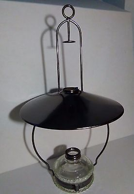Vintage Lantern Oil Lamp glass oil cartridge with Metal Cover and Metal Handle