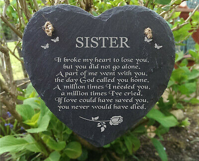 Sister Slate Heart  Laser Engraved Memorial Plaque  Rememberance Plaque