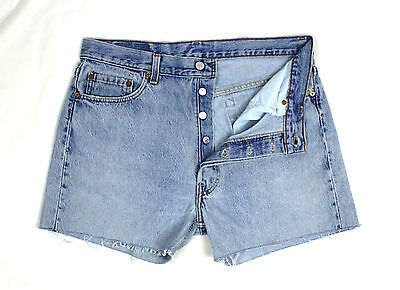 Levi's 501 Vintage Womens Ultimate Denim Dark Blue High Waisted Shorts W34 Lv47