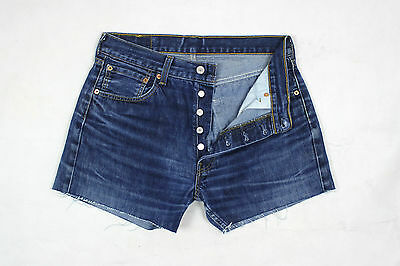Levi's 501 Vintage Womens Ultimate Denim Dark Blue High Waisted Shorts W31 Lv50