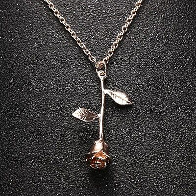 Women's Fashion Jewelry Rose Gold Color Flower Pendant Necklace Charm Rose 38-3