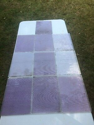 Antique Luxfer Prism Glass Panels Amethyst Purple 10 Pieces Approx 13x10