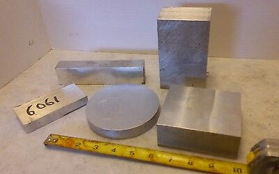 QTY 5 Aluminum Blocks, Raw Machining Metal Material, Rounds Flat Stock