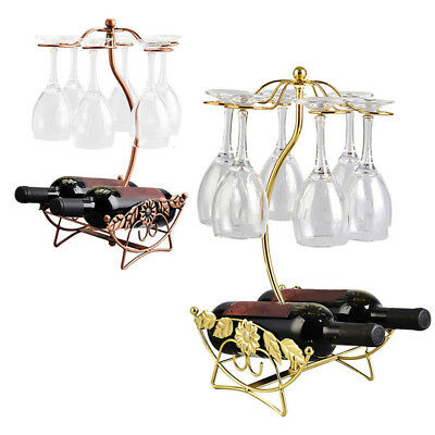Wine Rack Glasses Champagne Bottle Hanging Holder Stand Home Kitchen Table Decor