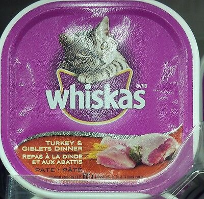 20 Trays Whiskas Wet Tray Turkey and Giblets Dinner with Resealable Lid 100g