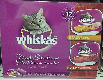 Whiskas Meaty Selections Pate 1.2 kg (12 x 100g) 6 Chicken Dinners 6 Beef Dinner