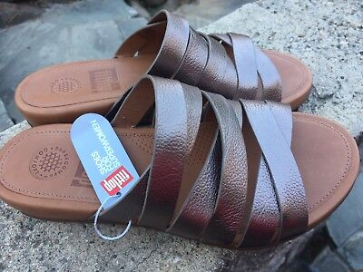 39559ce292158 NEW FITFLOP WOMENS Lumy Leather Criss-Cross Slide Bronze Sandal - US ...