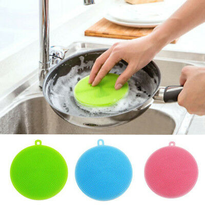 Reusable Silicone Dish Washing Sponge Scrubbers Pad Kitchen Cleaning Mat C7