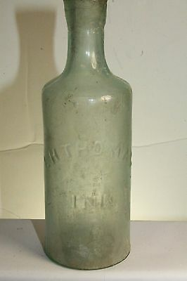 1875 Antique Scarce L H Thomas Master Ink Bottle Aqua Cylinder Chicago