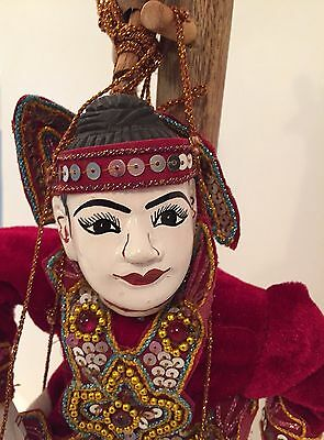 Rare Antique Burmese Hand Carved Painted Jointed Marionette EXCELLENT CONDITION