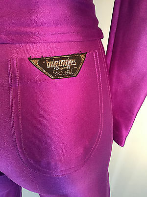 Disco Spandex Pants Jacket Set Purple Vintage  Bojeangles Jeans  Size 3/4
