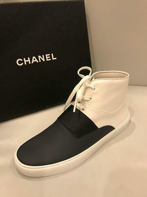 CHANEL 16P Two Tone Leather Lace Up High Top Sneakers Shoes Black White $775