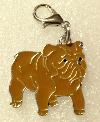 Brown Bulldog Dog Pup Bag Purse Charm Dangle Zipper Pull