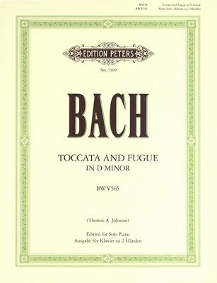 J.S. BACH - Toccata & Fugue D Minor Peters Edition Piano Book *NEW* Sheet Music