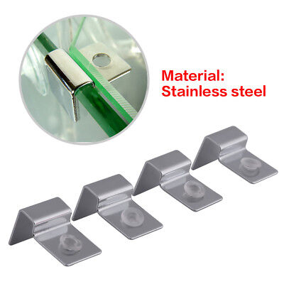 4x Stainless Aquarium Fish Tank Glass Cover Clip Support Holder 6/8/10/12mm DY