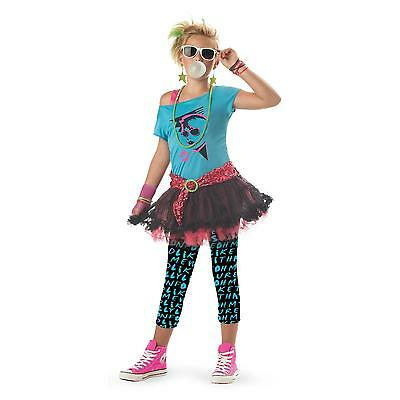 Punk Rock Teen 80's Valley Girl Child Halloween Costume Girl's Size Large 10-12