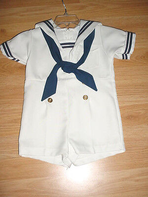 Vtg-1960s-Infant Baby Boys-White Polyester Romper Navy Photo Outfit-R-Gee-2-2T