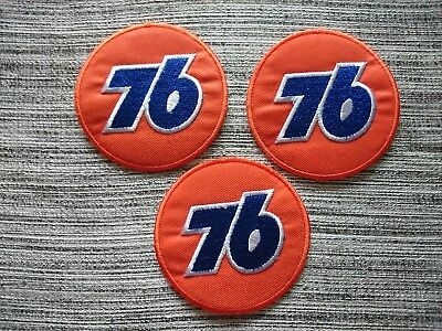 3pcs 76 Gas Stations Embrodered Iron Or Sew On Patches Free Shipping
