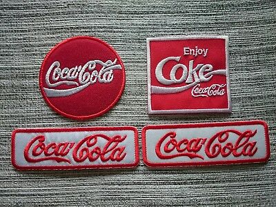 4pcs Coca Cola Embrodered Iron Or Sewn On COKE Patches Free Ship