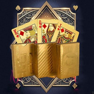 Cool Waterproof 24K Gold Foil Plated Poker 54 Playing Cards Table Games Props