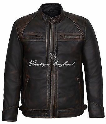 Mens Speed Racing Old Look Black Vintage Buff Contraband REAL 100% LEATHER 1201