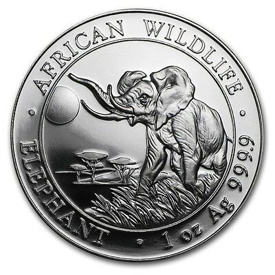 2016 Somalia 100 Shillings African Wildlife Elephant 1 oz .9999 Silver Coin