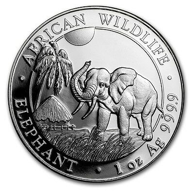 2017 Somalia 100 Shillings African Wildlife Elephant 1 oz .9999 Silver Coin