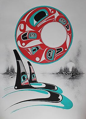 Danny Dennis Original Painting On Paper Hand Signed Native Killer Whales 1993